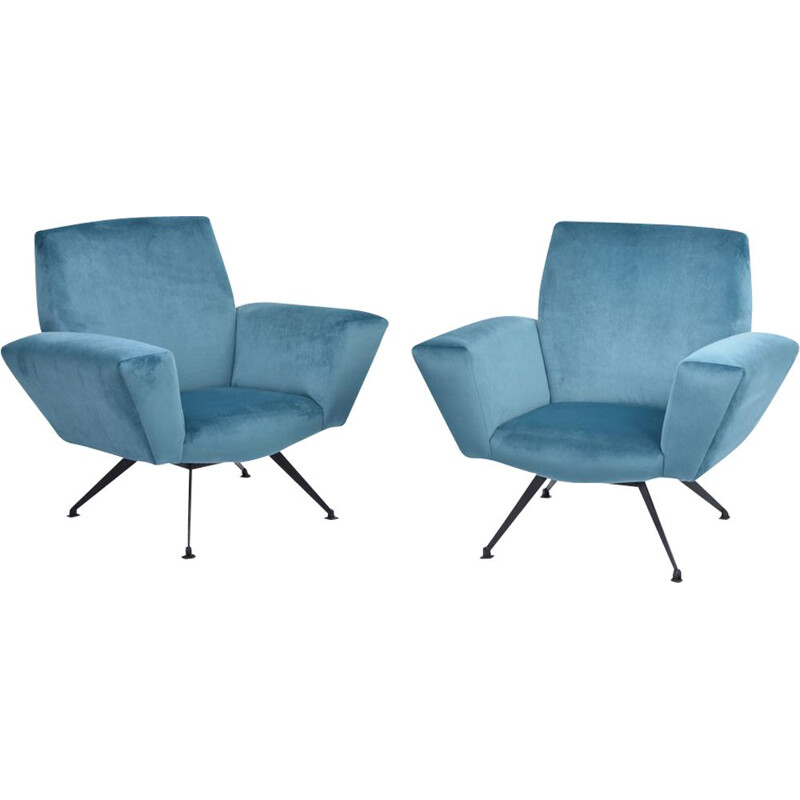 Pair of vintage Italian armchairs model 530 by Lenzi, 1950