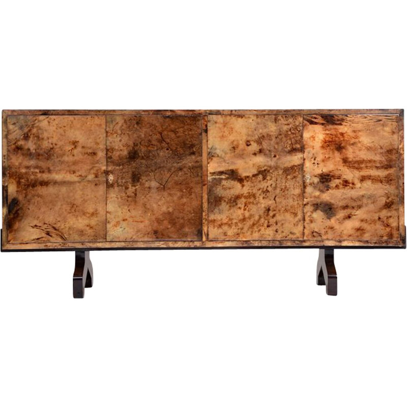 Vintage Sideboard in lacquered goat skin by Aldo Tura, Italy, 1970s