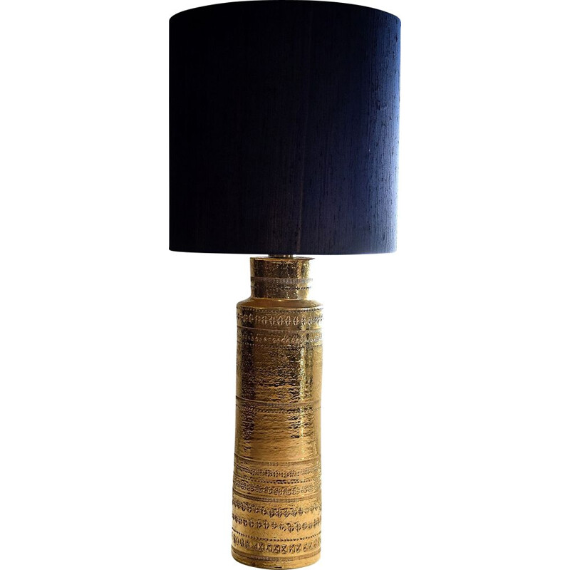 Vintage Bitossi Gold Ceramic Table Lamp by Aldo Londi