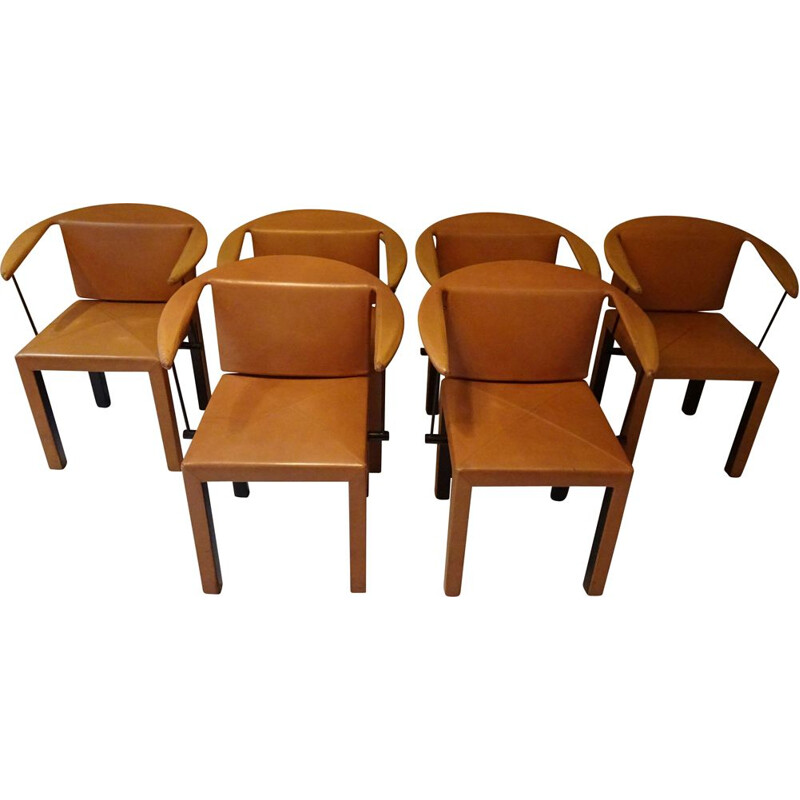 Suite of 6 Arcella chairs by Paolo Piva for B&B italia in camel leather