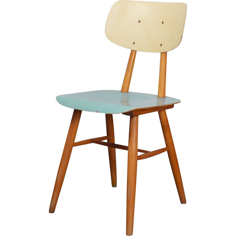 Vintage wooden chair by Ton, 1960