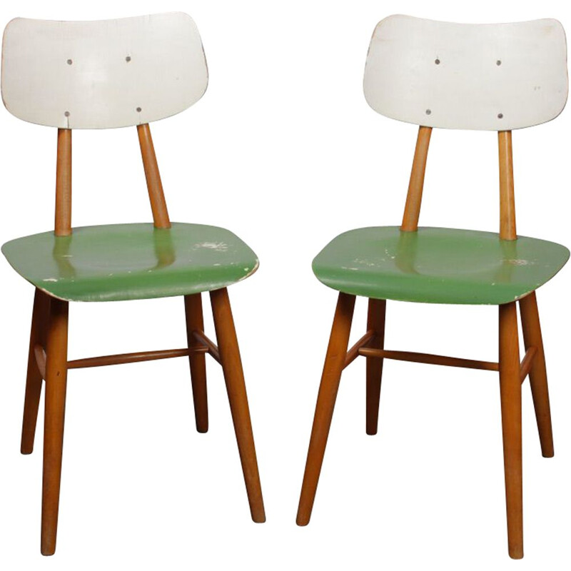 Pair of vintage chairs for Ton, 1960