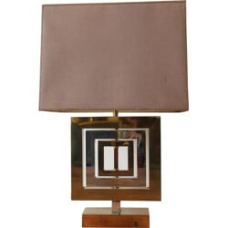 Vintage lamp in brass and chromium, Willy RIZZO - 1970s
