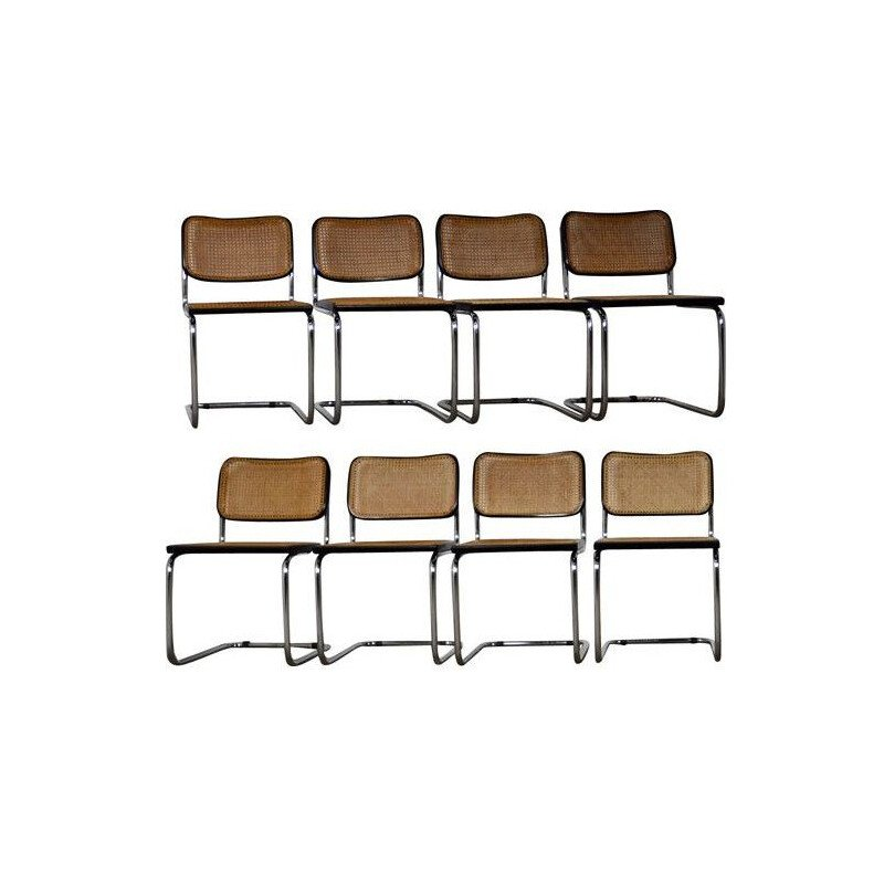 Set of 8 vintage Cesca chairs by Marcel Breuer for Gavina, 1980s