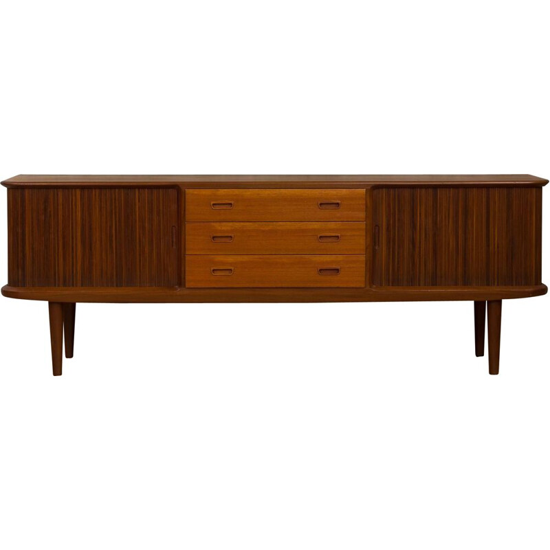 Vintage Low Danish teak sideboard with tambour sliding door