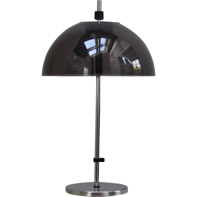 Vintage Table lamp in chrome plated steel & grey plexiglass, The Netherlands 1960