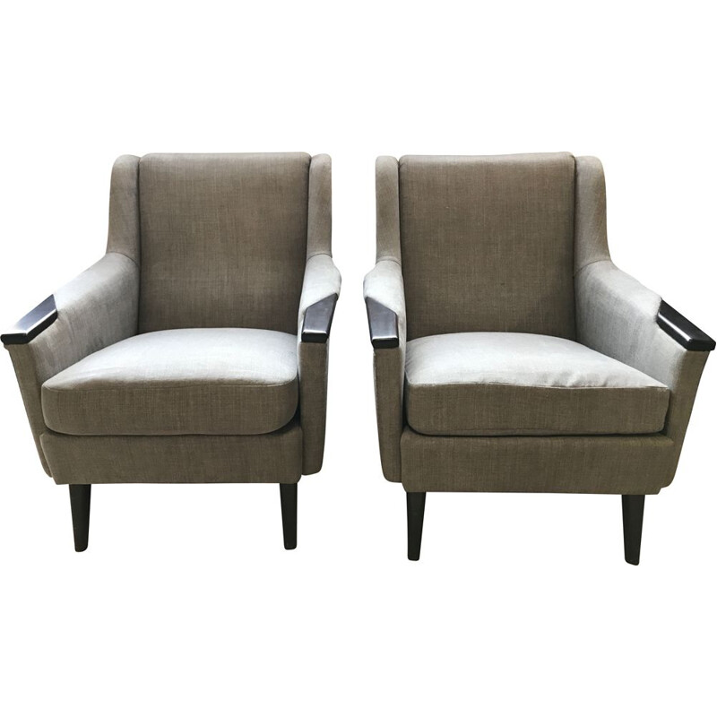 Pair of Scandinavian vintage armchairs by Lani in Malmo 1960