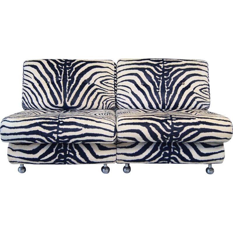 Pair of vintage Italian lucite Zebra lounge chairs, 1970