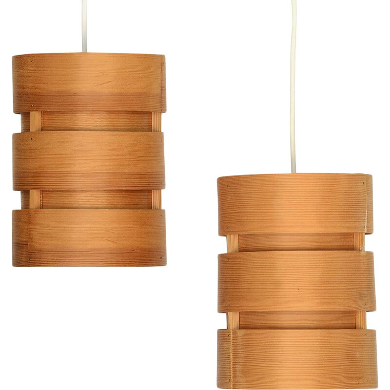 "Pair of vintage pine veneer pendant lights T355 ""Berse"" by Hans-Agne Jakobsson for Ellysett AB. Sweden 1960"