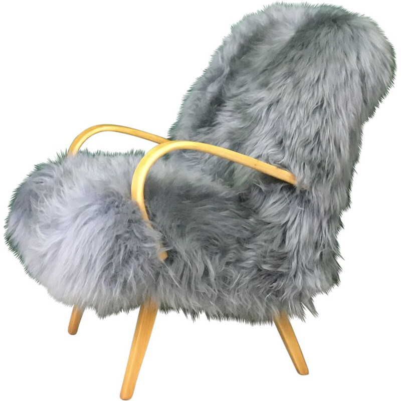 Vintage Art Deco armchair in grey sheepskin and wood