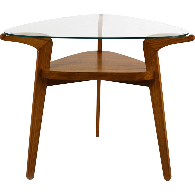 Vintage coffee table with glass top by Jitona, 1960s
