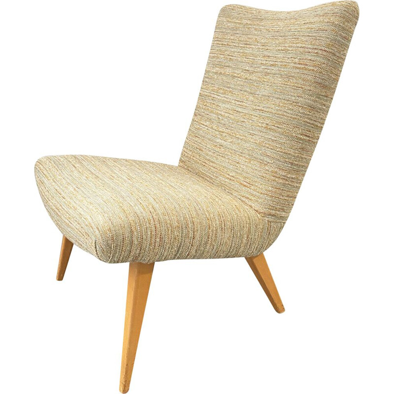 Vintage armchair with wool cover and wooden legs, 1950-60s