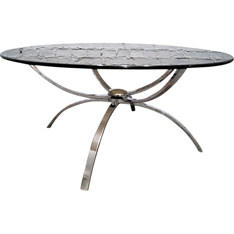 Vintage Spider coffee table in Chrome and smoked glass, 1970s