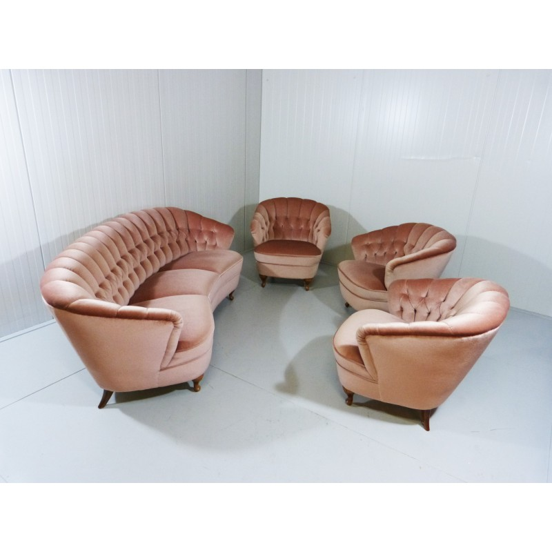 Set of living room in pink velvet and wood 1950s design market