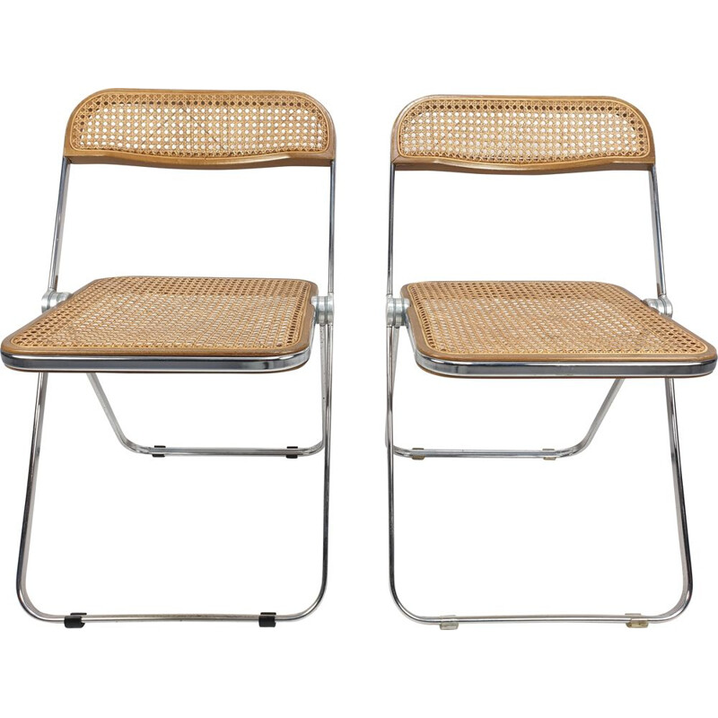 Set of 2 vintage Plia folding chairs with woven wicker by Giancarlo Piretti for Castelli, 1967
