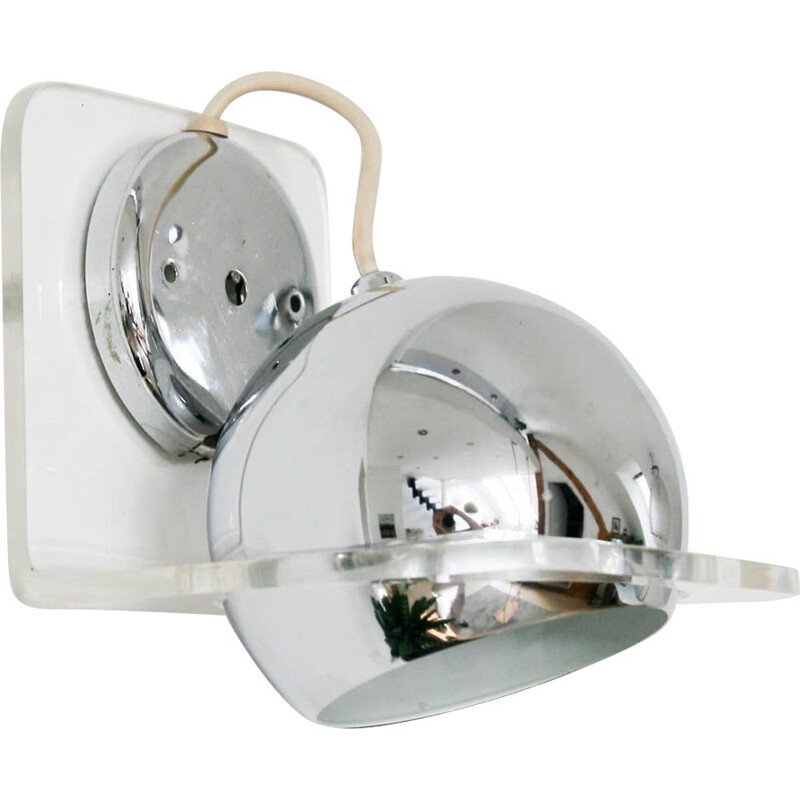 Vintage chrome eyeball wall lamp from Harvey Guzzini for Meblo