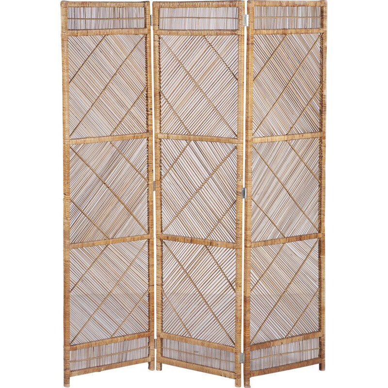 Vintage three-panel rattan room divider, 1960s