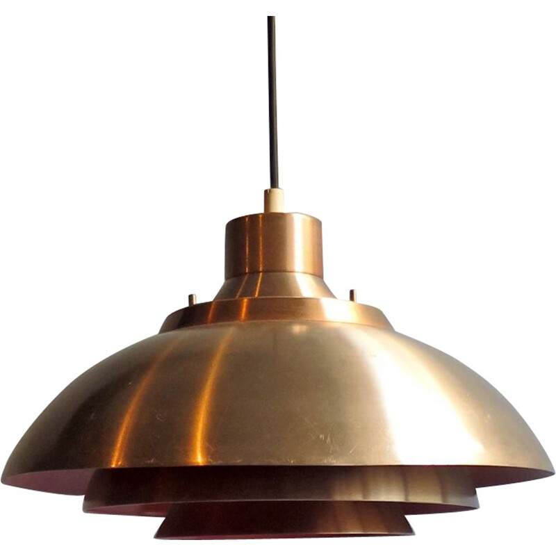 Vintage scandinavian golden and orange aluminium pendant lamp 1950