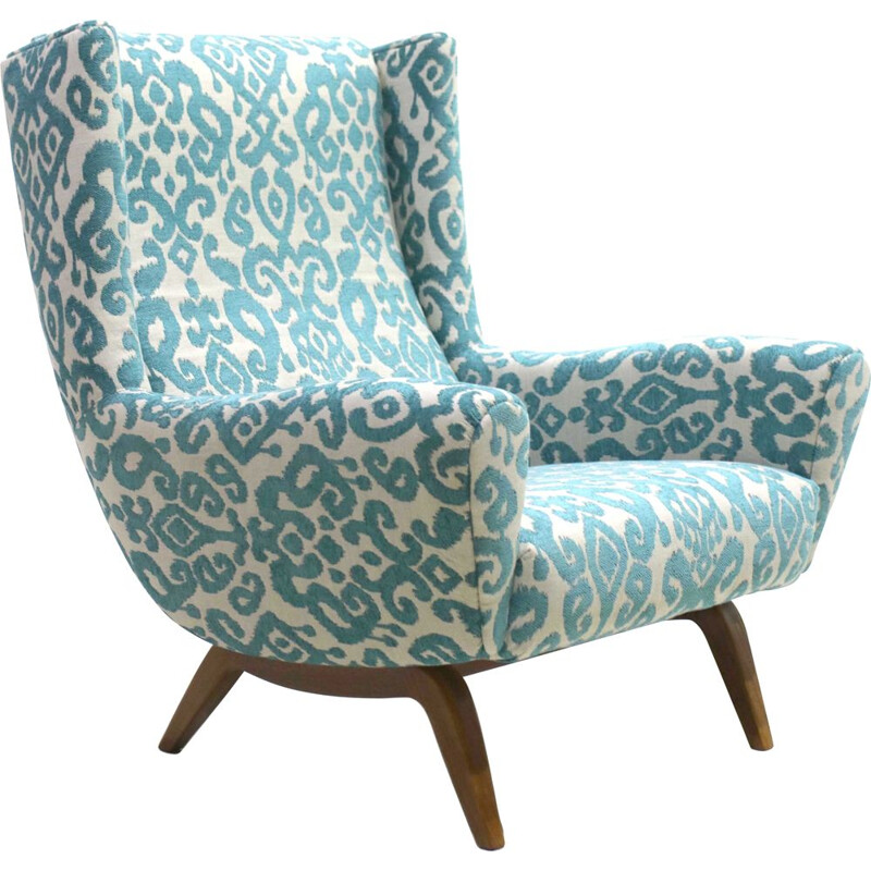 Vintage blue armchair by Illum Wikkelsø for Søren Wiladsen