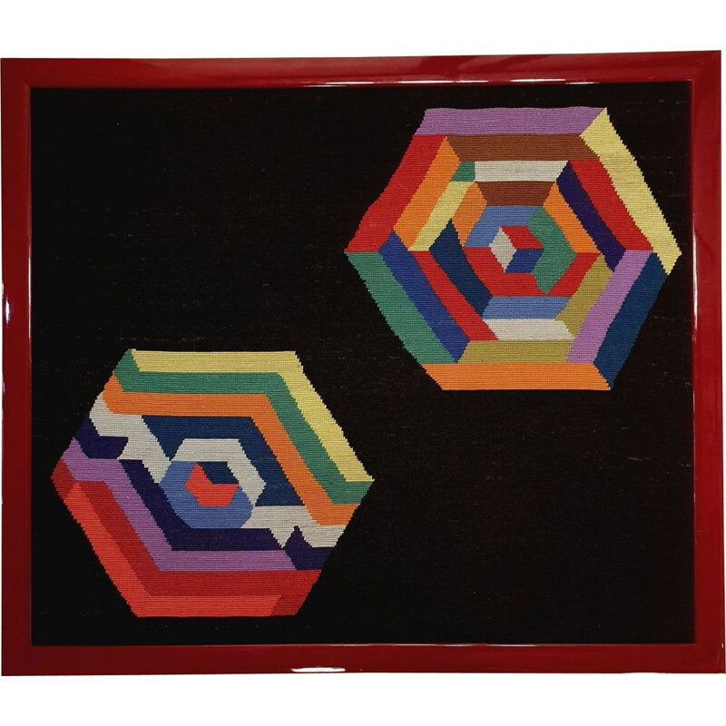 Vintage handmade wall tapestry with geometrical shapes by Victor Vasarely