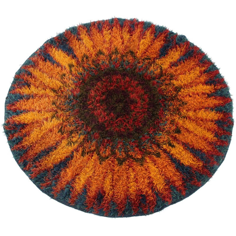 Vintage Danish oval wool rug 1970