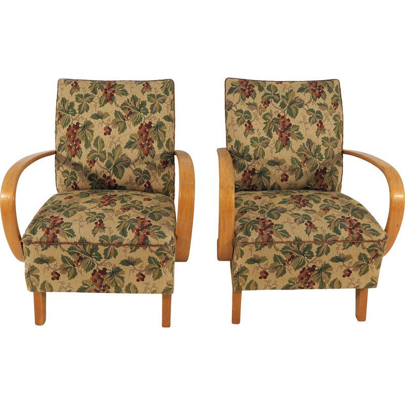 Vintage Art Deco pair of Lounge Chairs by Jindřich Halabala, 1950s