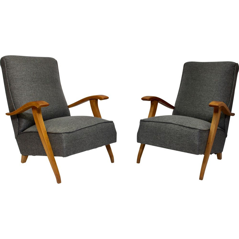Pair of  Art Deco vintage armchairs with wooden armrests, 1930