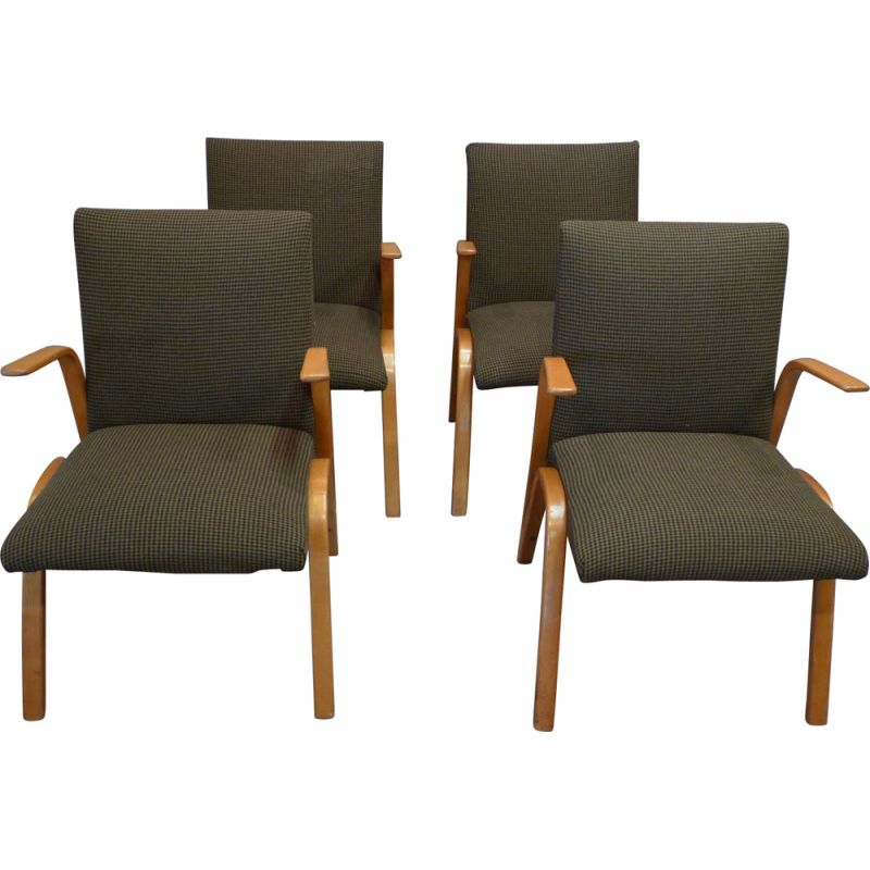 Suite of 4 design armchairs by Hugues Steiner, 1950