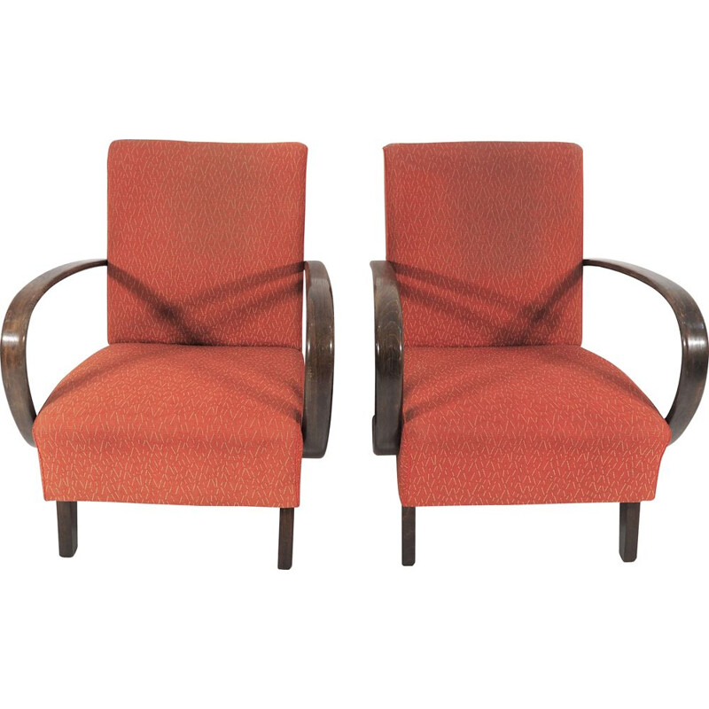 Pair of Art Deco Lounge Chairs by Jindřich Halabala, 1950s