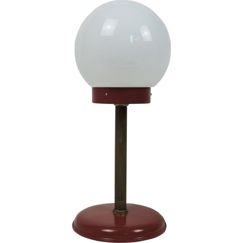 Vintage white Globe Table Lamp in Red and Gold, 1970s
