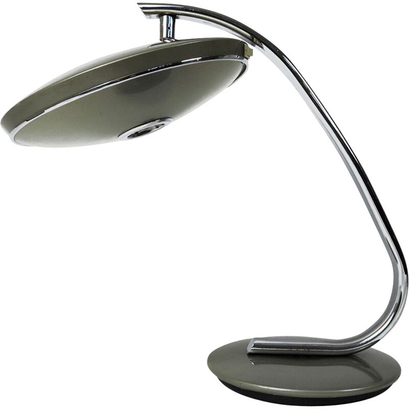 Vintage Grey and Chrome Model 520 Table Lamp from Fase, 1970s