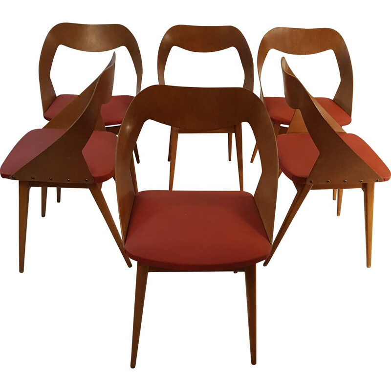 Set of 6 vintage chairs by Louis Paolozzi for ZOL, 1958