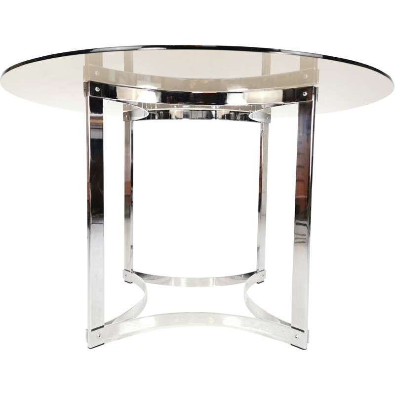 Vintage Merrow Associates Chrome Base & Glass Top Dining Table By Richard Young