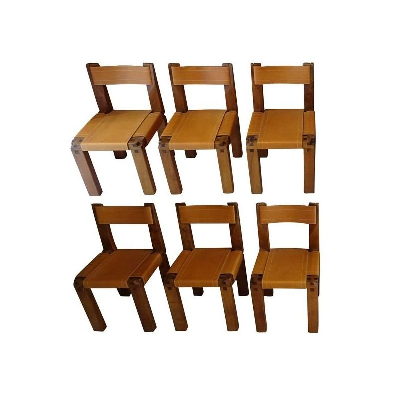 Set of 6 vintage chairs S11in elm wood by Pierre Chapo, 1970s