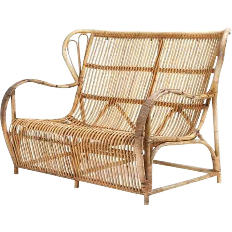 A vintage moulded bamboo sofa by R. Wengler