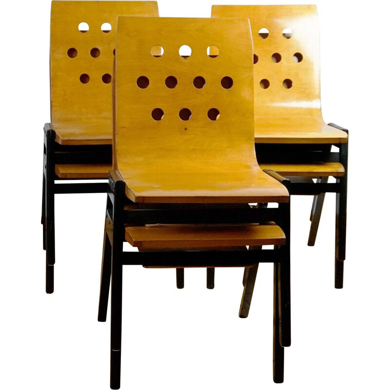 Set of 6 vintage Austrian stacking chairs by Roland Rainer
