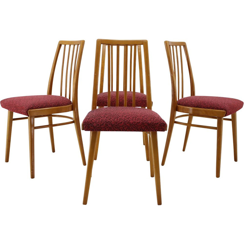 Set of 4 red dining chairs, Czechoslovakia, 1960