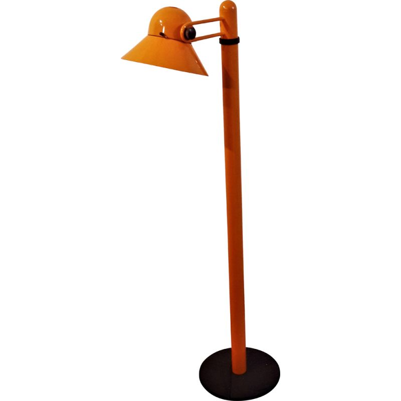 Vintage Italian orange lacquered metal floor lamp by Stilnovo 1970