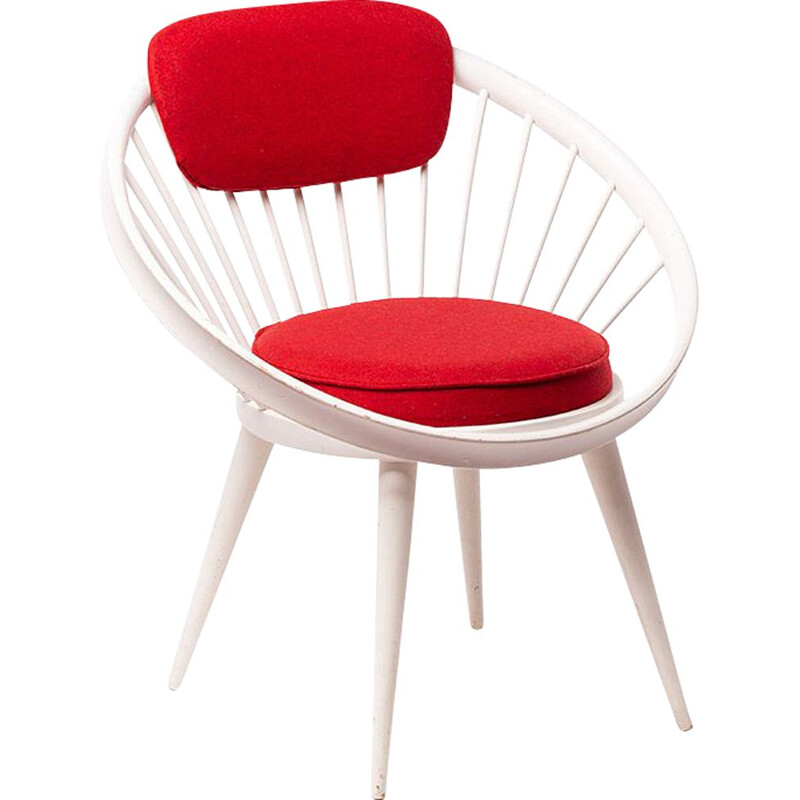 Vintage white and red chair Circle Chair  by Yngve Ekstrõm, 1950
