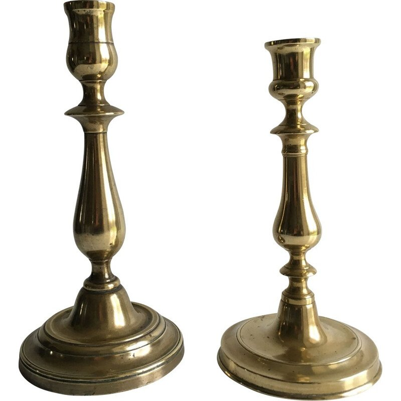 Pair of vintage brass candle holders