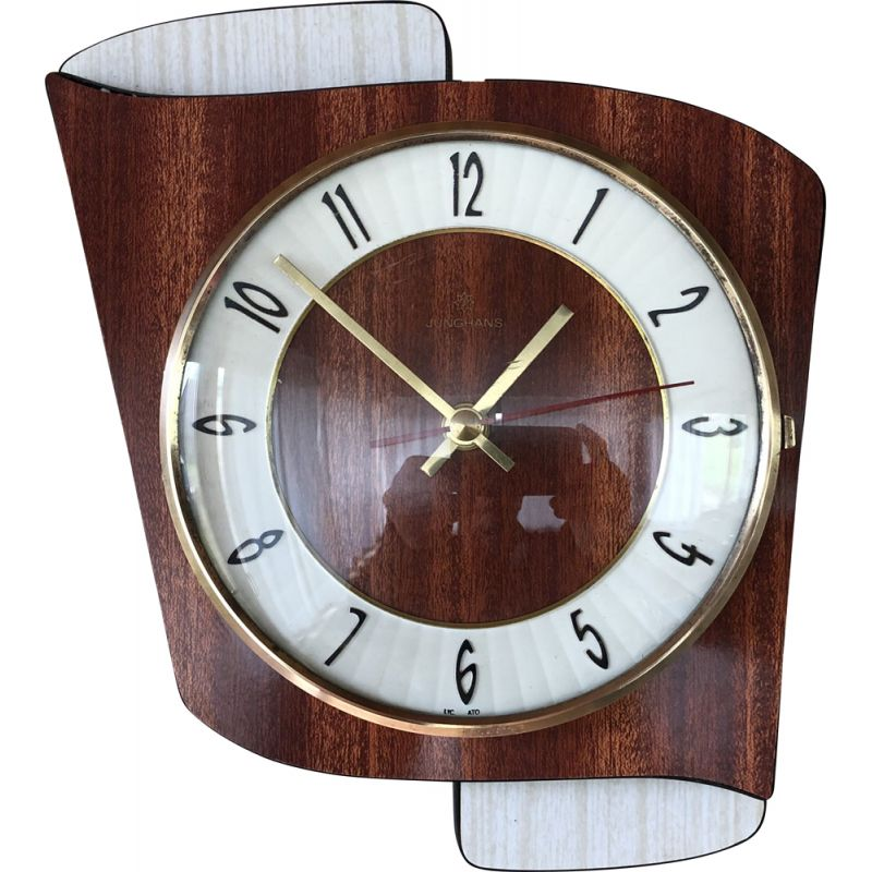 Vintage formica wall clock by Junghans, 1950-60s