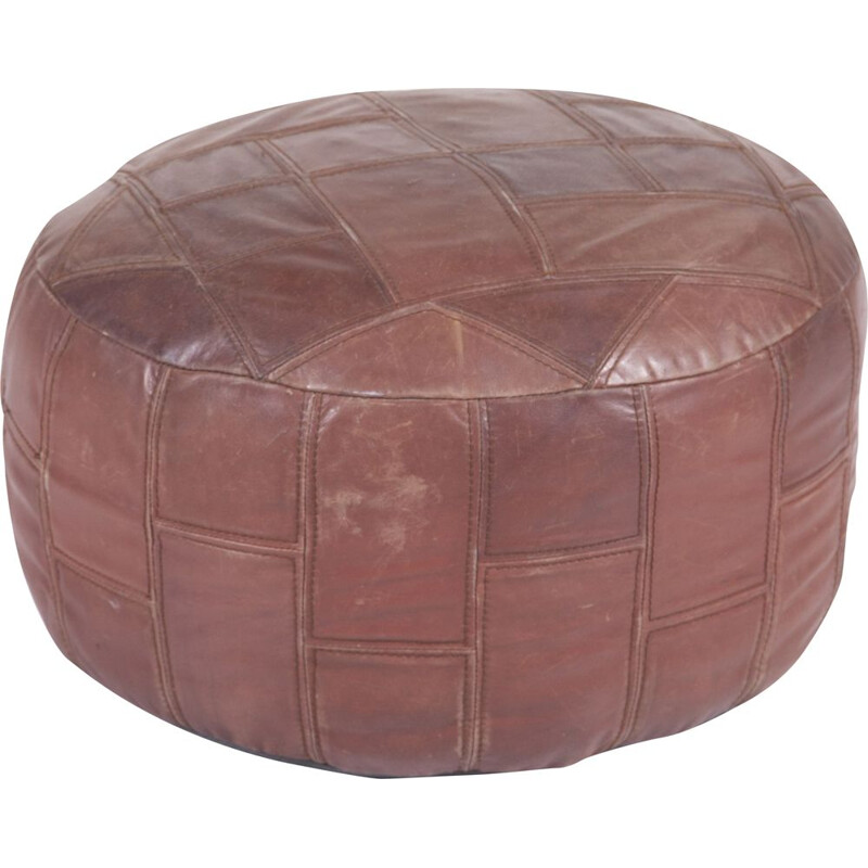 Large Vintage Leather Pouf, 1970s
