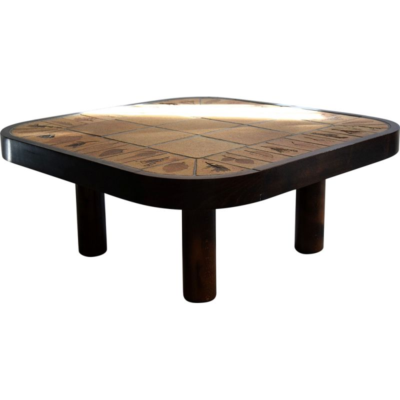 Vintage Brown and Beige Coffee Table by Roger Capron