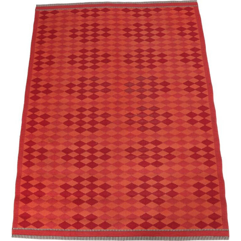 Vintage hand-woven wool carpet orange and red, Denmark