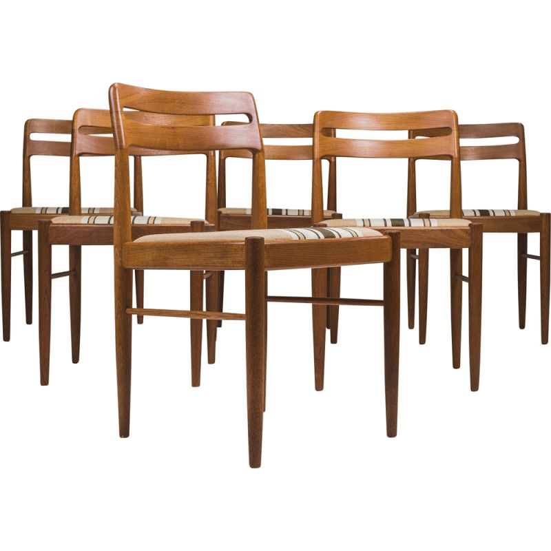Set of 6 vintage teak chairs by H. W. Klein for Bramin