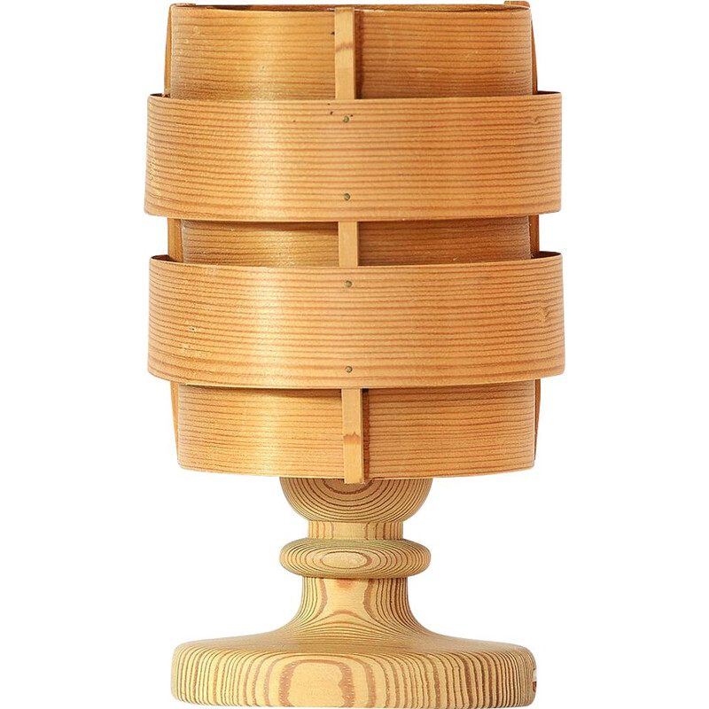 "Vintage pine veneer table lamp ""B 148"" by Hans-Agne Jakobsson for Ellysett AB, Sweden 1960s"
