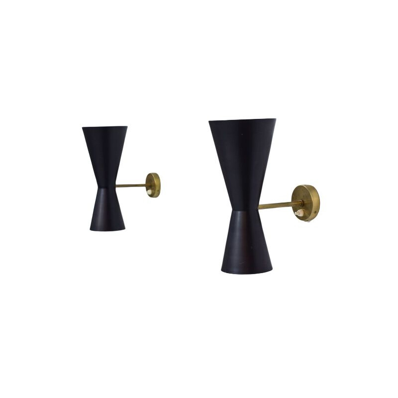 Vintage pair of Swedish Wall Lamps by Alf Svensson for Bergboms, 1950
