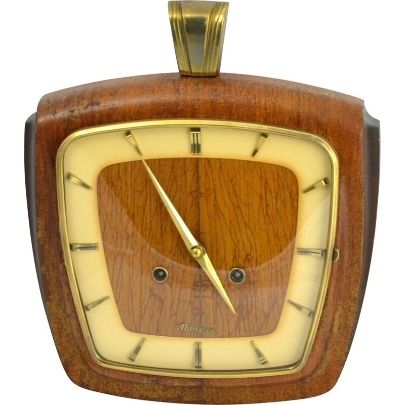 Vintage mechanical wall clock by VEB Dugena, Germany, 1950s