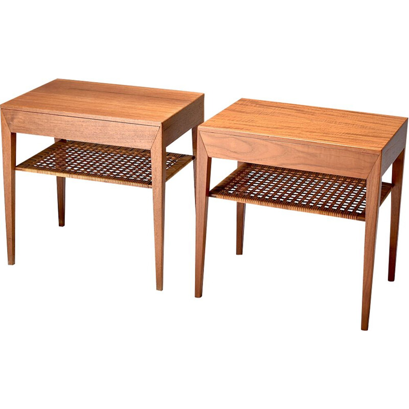 Pair of teak and rattan bedside tables by Severin Hansen