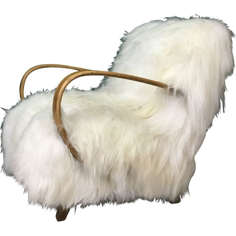 Vintage Art Deco White Sheepskin and wood Armchair by Jindrich Halabala, 1930s